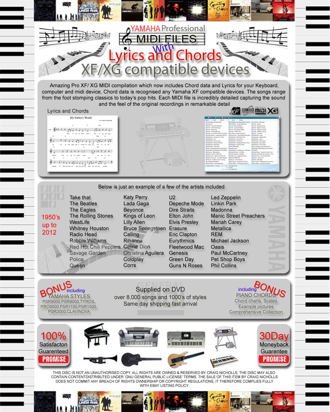 Details about YAMAHA XG XF GM SONGS CHORDS & LYRICS MIDI BACKING FILE TRACKS